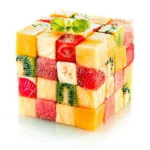 Fruit cube with assorted tropical fruit