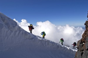 Alpinists in the mountains